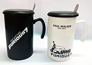 Beautiful Fast and Furious Coffee Mugs with Lid and spoon Microwave safe -- Set of 2