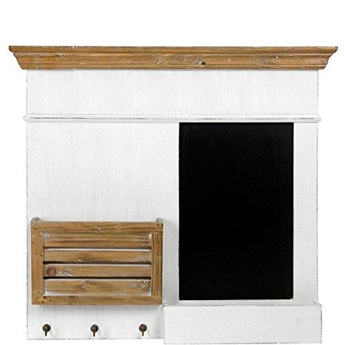 BUTLERS CAMPAGNE Memoboard- Schiefertafel - Vintage - mit Haken, Kreideablage - Paulownia-Holz, MDF - 62 x 8 x 67,5 cm - Landhaus-Stil