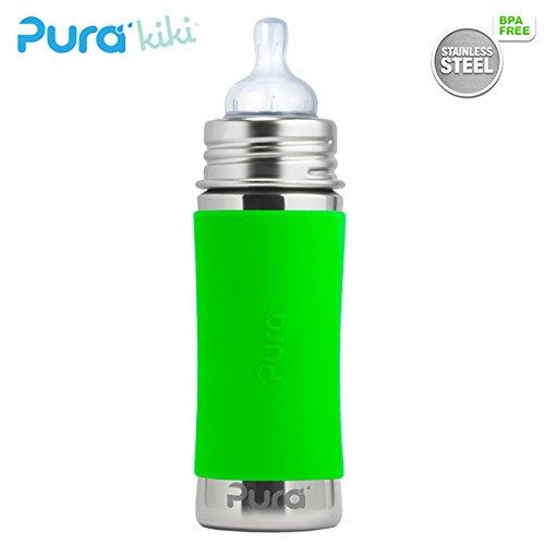 Pura Kiki Trinkflasche - 325ml - Weithalssauger (inkl. Schutzkappe) Pura Farbe/Design Blank + Grüner Überzug