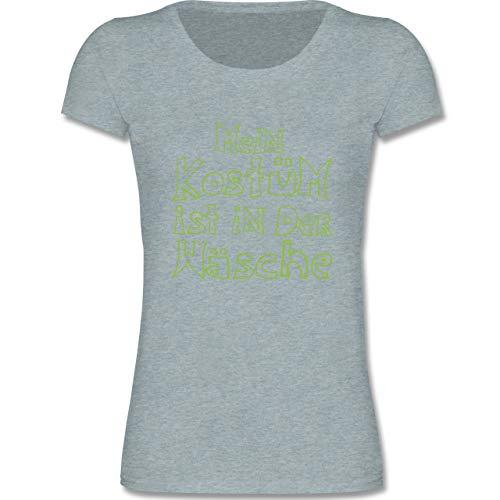 Karneval & Fasching Kinder - Mein Kostüm ist in der Wäsche - 122-128 (7-8 Jahre) - Blau/Grau meliert - F288K - Mädchen T-Shirt