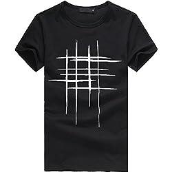 Beliebt!! Shirt Herren,Sweatshirts Herren, Sleeveless T-Shirt,Druck Tees Shirt Kurzarm T-Shirt aus Baumwolle Casual Bluse (XXXL, Schwarz)