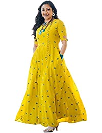 Fashioto Women's Long Embroidered Kurti, Yellow