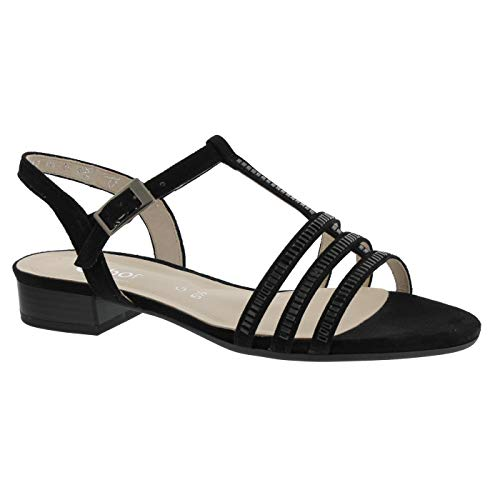 Gabor Comfort 22.813-35 Damen Elegante Sandale aus Veloursleder Gummizug WeiteG, Groesse 40, schwarz