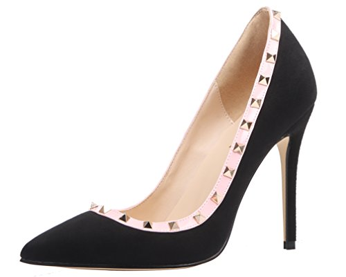 AOOAR Damen Übergröße High Heels mit Nieten Pumps Schwarz Samt EU 40