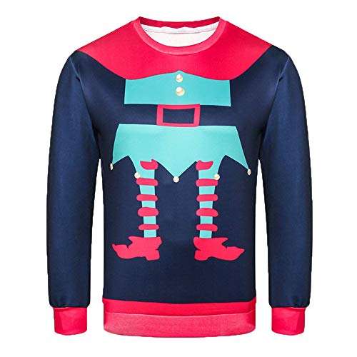 Price comparison product image Men Discount Autumn Casual Daily tops Men's Autumn Winter 3D Christmas Print Long Sleeve Hooded Sweatershirt Top