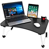 Savya home® Multifunction Wooden Foldable Bed Table- Laptop Table for Reading/Eating/Study/CRAFTWORK Laptop Table Black