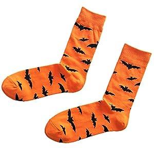 Halloween Cartoon Men&Women Cotton Tube Sockings Bat Pumpkin Sweat Absorbent Breathable Socks