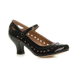 Ajvani Womens Ladies Low Kitten Heel Work Classic Court Shoes - Black Patent - 7 UK