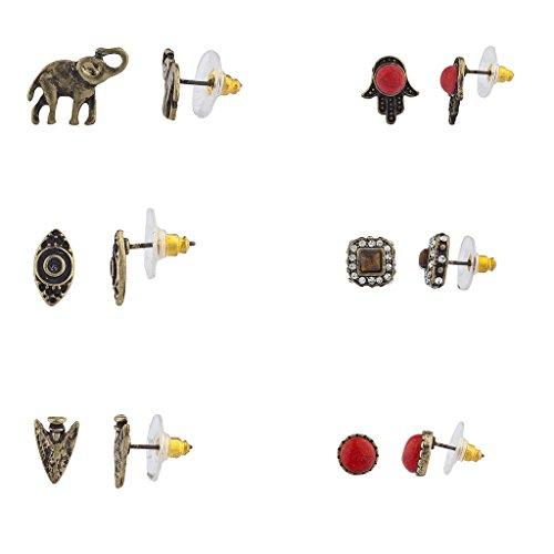 lux-accessoires-boho-burnish-elephant-or-eye-hamsa-fleche-multi-boucles-doreille-lot-de-6