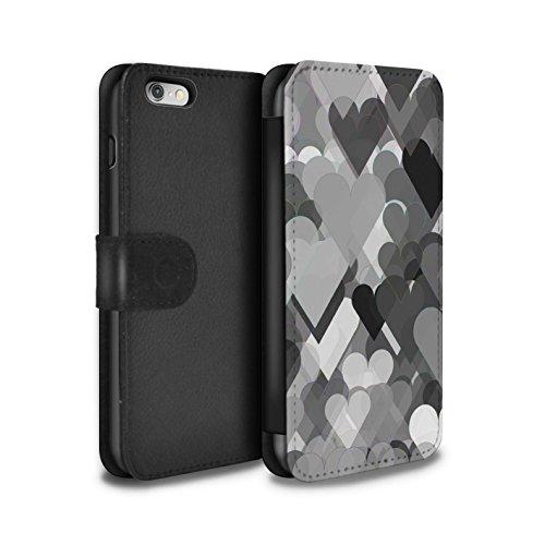 Stuff4 Coque/Etui/Housse Cuir PU Case/Cover pour Apple iPhone 6S / Drap Musique/Mélodie Design / Mode Noir Collection Coeurs Transparents