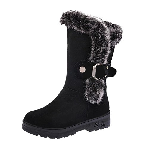 VJGOAL Damen Stiefel, Frauen Mädchen Stiefel Slip-On weiche Schneeschuhe runde Zehe Flache Winter warme Stiefeletten, 4CM (36 EU, Schwarz)