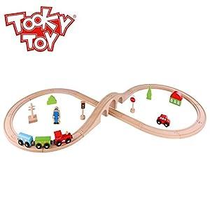 Tooky Toys TKC348 - Juego de Tren de Madera (30 Piezas), Multicolor
