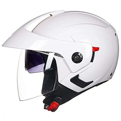 ZXLLAFT Motorradhelm, Motorrad-Roller-jethelm, Vollgesichts-klapphelm Modularer Motorradhelm, Unisex Erwachsener,Weiß,XXL