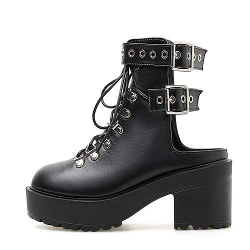 PIAOLDXZ Stivali Stivali da Donna Autunno Cinturino alla Caviglia Cinturino con Cinturino Incrociato Scarpe da Moto Stivali da Moto