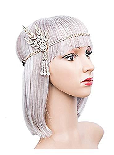(DRESHOW Art Deco 1920er Jahre Flapper Great Gatsby Blatt Hochzeit Braut Tiara Pearl Headpiece Stirnband)