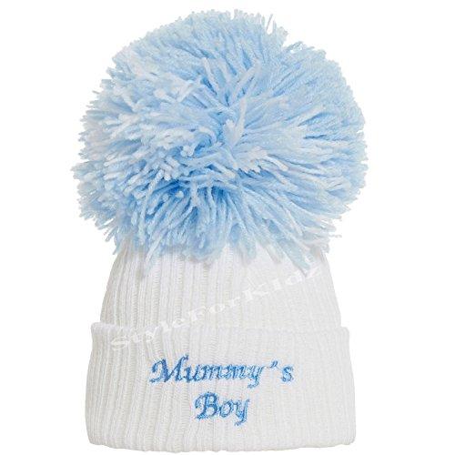 Soho Fashions Luxus British gemacht Baby Boy Mummys Boy Daddys Junge niedliche dekorative Frilly Gestrickte Pom Pom Neugeborenen Babymützen (Mummys Boy (Weiß Blau), groß (3+ Monate))