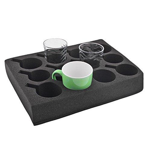 Ha ba Tassenhalter Glashalter 12 er schwarz Spezial Schaum 330 x 245 x 60mm