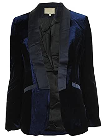 CelebLook Frauen geöffnete Vorder Stilvolle Revers Langarmshirt Damen Velvet SamtBlazer