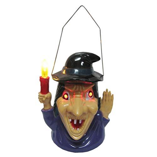 Hexe Laterne mit gruseligen Scary Sounds Licht Dekoration Ohne Batterie ()