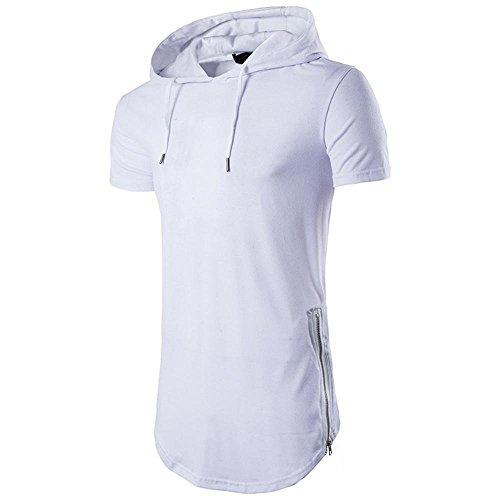 MRULIC Herren Hoodies Pullover Kurzarm Einfarbig Tops(Weiß,EU-48/CN-XL) (Überprüfen Sie Wolle Seide Schal)