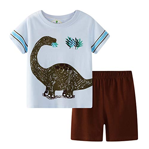 TTLOVE_Baby Kleidung, Kids Outfits Set Cartoon Tops T-Shirt +Gitter Shorts Schlafanzug Baumwolle NachtwäSche Kinder Sommer Pyjama Kleinkind 2Pcs Bekleidung(Blau,2T,18-24 Monthes) (Kleinkind Pageant Kleid 2t)