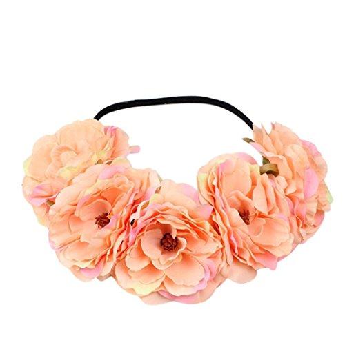 chzeit Blumen Haar Girlande Krone Stirnband Blumenkranz Hairband (Lnulin) (Blume-stirnband)