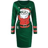 Geili Weihnachten Kleid Für Frauen Casual Weihnachtsmann Druck Langarm O-Ausschnitt Bodycon Kleider Damen Elegante... preisvergleich bei billige-tabletten.eu