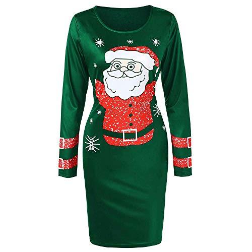 Xmiral Weihnachten Kleid-Damen O-Ansatz Lange Hülsen-Weihnachtsmann Printed Bodycon Kleider...