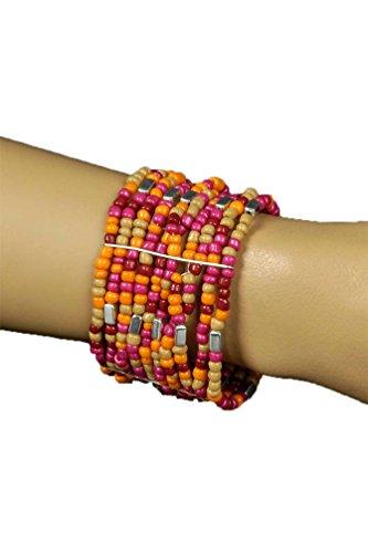 Karneval-Klamotten Hippie Armbänder Hippie Armband Damen 60er Jahre Perlen Orange Rot