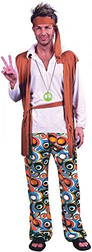 Hippie Man Kostüm für Herren 60er 70er Jahre Seventies Sixties Hose Flower Power, Größe:XL/XXL