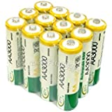 AST Works 12 Pcs AA LR06 3000mAh 1.2V NI-MH Rechargeable Battery Cell/RC 2A BTY Green SP