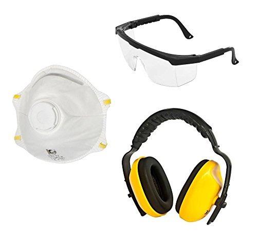 Viwanda Basic Arbeitsschutz Set, enthält Schutzbrille, Atemschutzmaske sowie Gehörschutz für das Arbeiten im Forstbetrieb und mehr