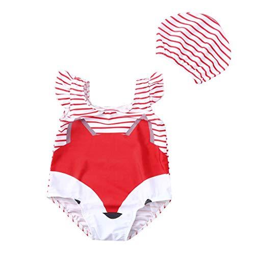 Bañador Natacion con Gorro de baño niña niño bebé 0 a 4 años, Trajes de baño Estampado Animal...