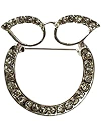 Stunning Silver Plated Rhinestone Crystal Glasses / Sunglasses Holder Brooch Pin Spectacle Hanger