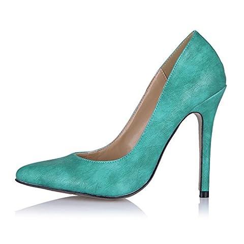 Neue Feder fein high-heel Schuhe schwarz rot wildes Nachtleben interessante Punkte klicken Sie auf Schuhe, grün muster PU