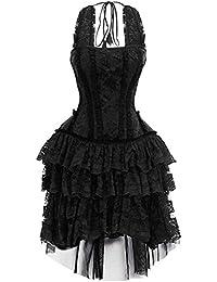7f55725abfaa JapanAttitude Robe Noire à Motif Floral avec laçage et Dentelles élégant  Gothique