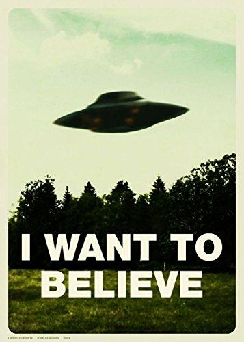 X Files I Want to Believe 001 Waterproof Plastic Poster Poster di Plastica Impermeabile - Anti-Fade - Possono utilizzare su Outdoor/Giardino/Bagno