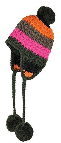 Ultrapower RED HOT Bommelmütze bunt für Damen & Herren | Pompon Mütze mit Ohrenklappen | Skimütze | Wintermütze Mädchen Jungen | Kopfbedeckung mit Bommel | Ski Strickmütze | Wintersport | ELT|DE 24.2