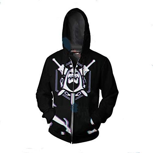 Tftory&1314 Herren Beiläufig Lange Ärmel Reißverschluss Hoodies Zum Schädel Köpfe Halloween Muster Unisex Sweatshirt Cosplay Jacke Y. / A1 / Xxl -