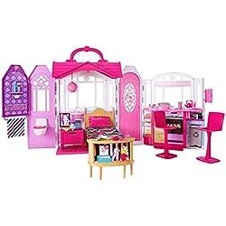 Barbie Mobilier Maison de poupée à Emporter transportable rose et blanche fournie avec lit, chaises et accessoires, jouet pour enfant, CHF54