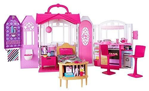 Barbie CHF54 - Glam Ferienhaus, portables Puppenhaus mit 3 Zimmer, 20+ Zubehörteile, ca. 76 cm breit mit Tragegriff, Mädchen Spielzeug ab 3 Jahren