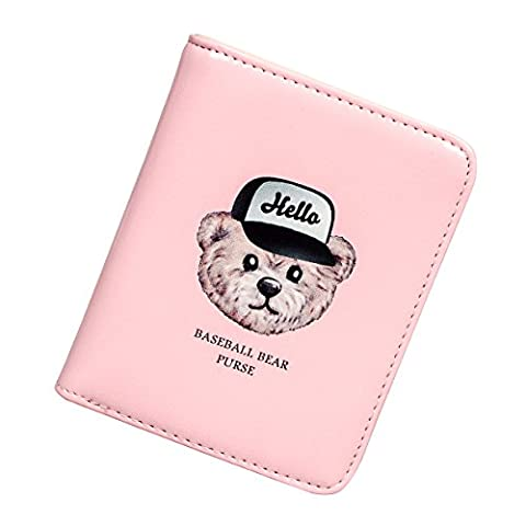 Fency Women's Baseball Bear Wallet Small Matte Synthetic Leather Cluth Purse (Pink)