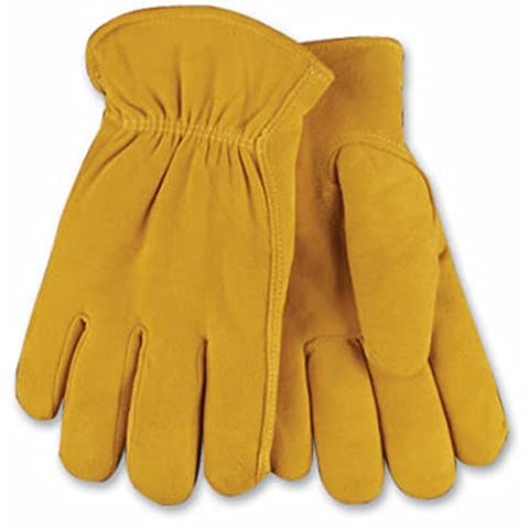 KINCO 903HK-M Men's Lined Suede Deerskin Gloves, Heat Keep Lining, Double Shirred Elastic Back, Medium, Golden by KINCO INTERNATIONAL