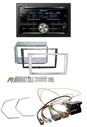 Pioneer FH-X730BT MP3 2DIN Bluetooth AUX CD USB Autoradio für Opel Corsa D Astra H Zafira B ab 2005 satin-stone (Doppel-passe Hinten)