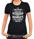 ShirtStreet Fanartikel Fan Kult Film Damen Frauen T-Shirt Rundhals Außerhalb von Hogwarts, Größe: M,schwarz