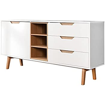 design retro sideboard nordic 150cm edelmatt wei echt eiche anrichte kommode wohnzimmer schrank. Black Bedroom Furniture Sets. Home Design Ideas