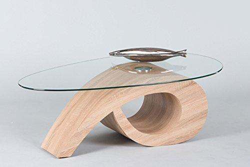 lifestyle4living Couchtisch ist oval und aus Glas | Sofa-Tisch in Sonama Eiche Dekor hat eine moderne Form | Wohnzimmertisch mit zusätzlicher Ablagefläche