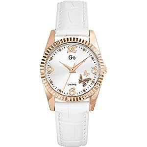 Go Girl Only - 698543 - Montre Femme - Quartz Analogique - Cadran Argent - Bracelet Cuir Blanc