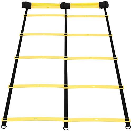 GORILLA SPORTS® Koordinationsleiter klappbar mit 12 Verstellbaren Sproßen – Trainingsleiter 3,8 m Zweireihig