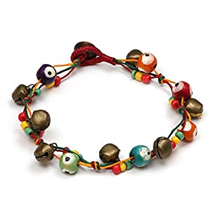 Idin Fußband – Bunte Perlen und Messingglöckchen auf gewachsten Fäden (Länge ca. 25 cm)